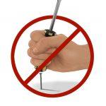 No screwdrivers